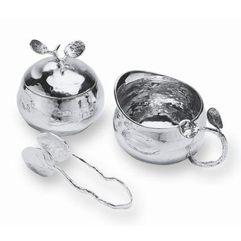 Silver Botanical Sugar & Cream with Tongs