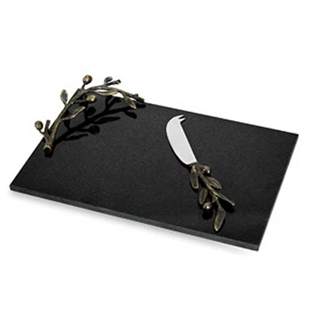 Olive Dark Nickel Cheese Tray with Knife