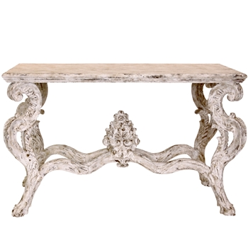 French Carve Whitewashed Table