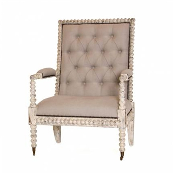 Spindle Linen White Washed Club Arm Chair