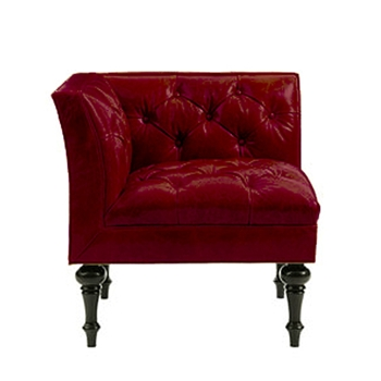 Salon Corner Red Leather Chair