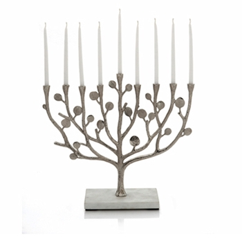 Botanical Nickel Menorah Candle Holder