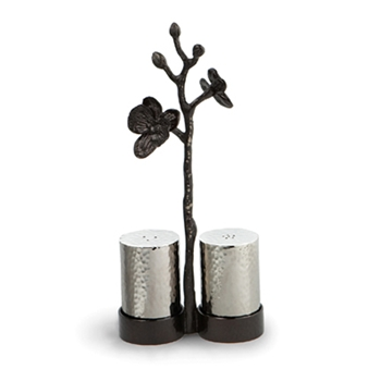 Black Orchid Nickel Salt & Pepper Stand