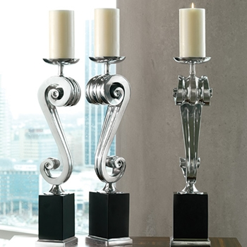 Scroll Nickel Candle Holder