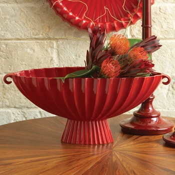 Oval Fluted Red Compote