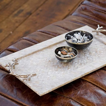 Coral Handled Pearl Tray