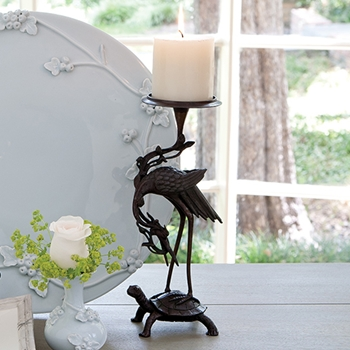 Crane Turtle Candle Holder