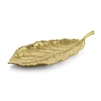 Gold Platter - Magnolia Leaf 19in