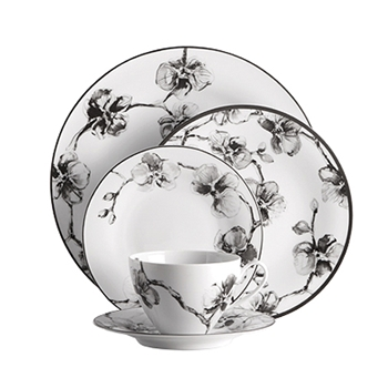Blk & Wh Orchid Dinnerware