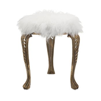Neely Fur Stool White 19H