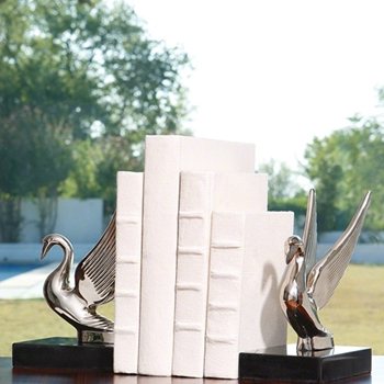 Swan Bookends Nickle (Pair)