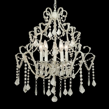 Clear Crystal/White Chandelier 20in