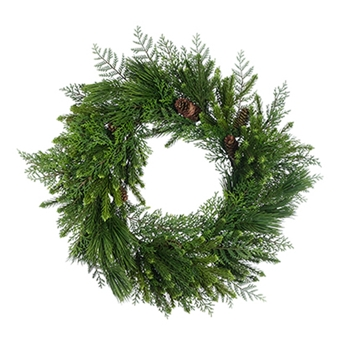 54. Green Cedar Wreath Lush 24in