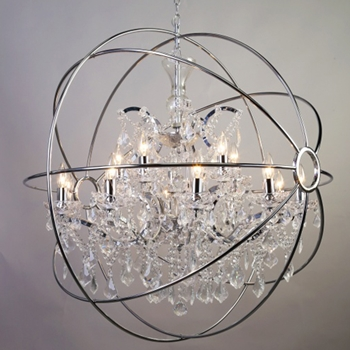 Caged Globe Chandelier 24in