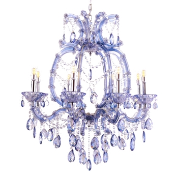 Blue Crystal Chandelier 28W/32H