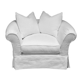 La Luna Chair 48W/38D/38H White Denim