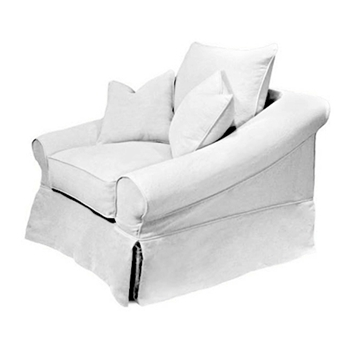 Pollock Chair 44W/41D/38H White Denim