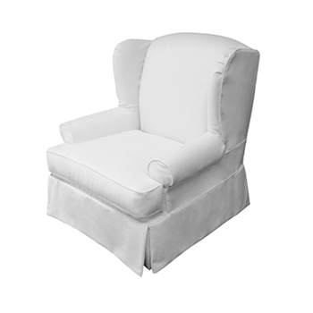 Wing Chair 40W/36D/42H White Denim