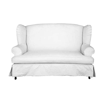Wing Loveseat 65W/39D/42H White Denim