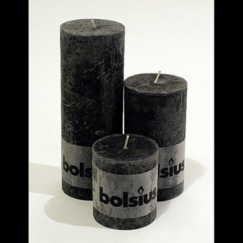 Candle Bolsius 3,5,7.5in Black