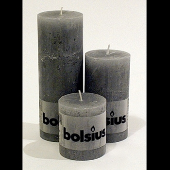 Candle Bolsius 3,5,7.5in Grey