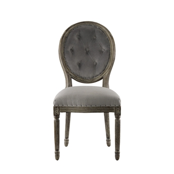 Vintage Button Chair 20W/24D/40H Grey Velvet