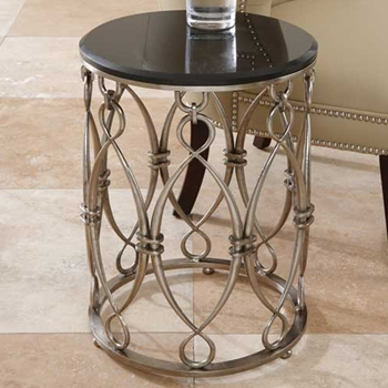 Bow Loop Black Stencilled Side Table