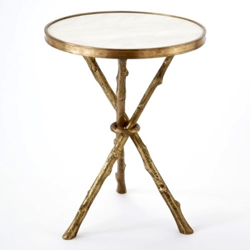 White Brass Twig Side Table