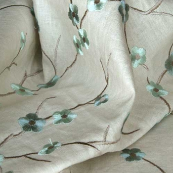 Aqua Embroidered Blossom