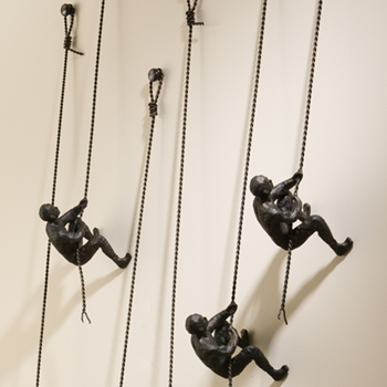 Bronze Climbing Man Wall Mounted