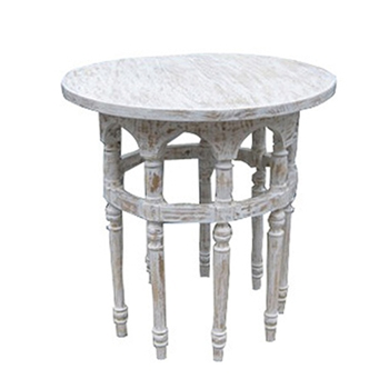 Nine Leg White Wash Side Table
