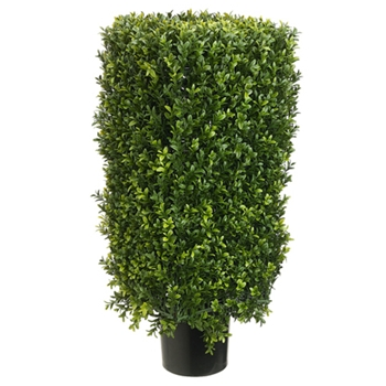 Boxwood Leaf Rectangle Green Topiary 30in