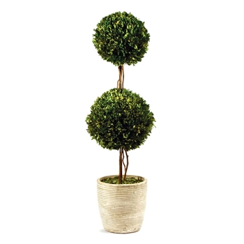 Boxwood Leaf Green Topiary/2 Ball 18in