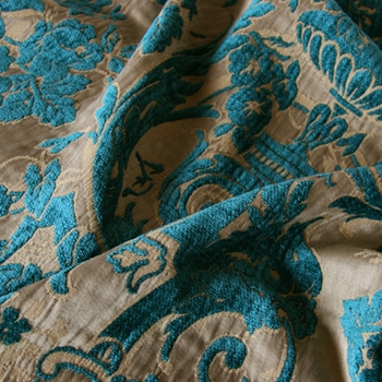 Teal Chenille Perricone Damask