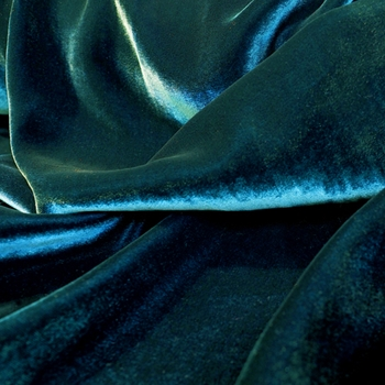 42. Teal Velvet Silk Solid Peacock