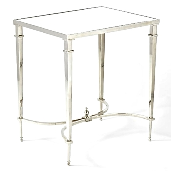 French Table Nickel & Mirror 20x16x22