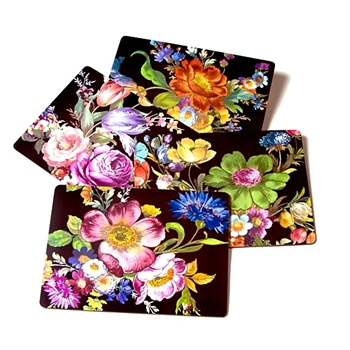 Placemat Set4 Flower Mkt BLK