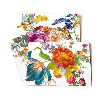 Placemat Set4 Flower Mkt WHT