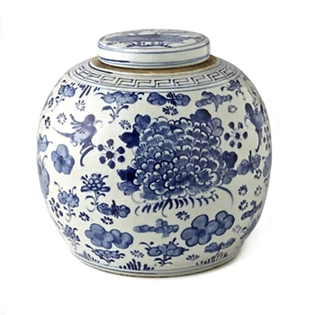 Delft Jar Swallows & Flowers 11W/12H