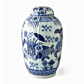 Delft Jar Fluted Tea 11W/19H