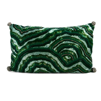 Pillow Malachite Beaded 18X12