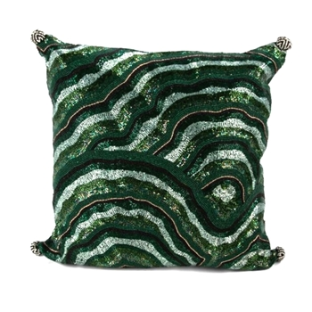 Pillow Malachite Beaded 18SQ