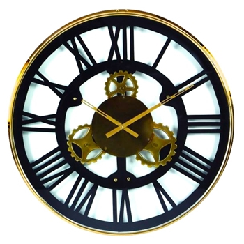 Wall Clock Roman Gear Blk/Gld 32In
