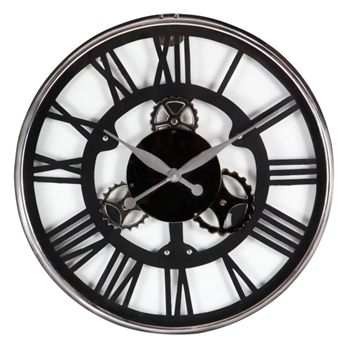 Wall Clock Roman Gear Black/Silver 25IN