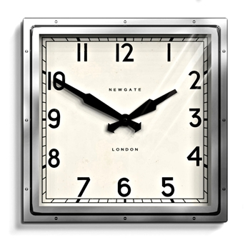 Wall Clock Newgate Quad Chrome 16SQ