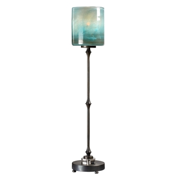 Lamp Buffet Farriage 8W/34H Azure Glass