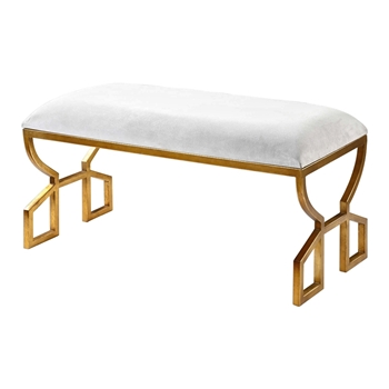 Bench Jovie 36W/16D/19H Leather, Gold leaf