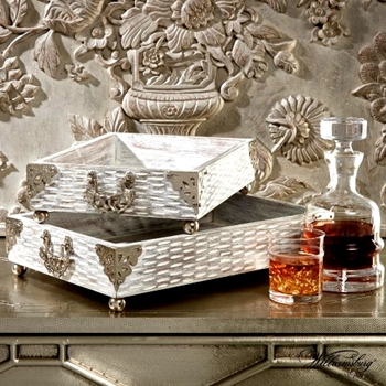 Tray - Curiousities WhiteW & Silver 15W/11D/4H