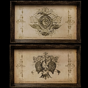 Tray - Vintage Emblems Set  of 2 25W/15H Each