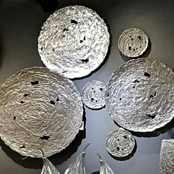 39W/39H Wall Sculpture - Disc Molten Silver